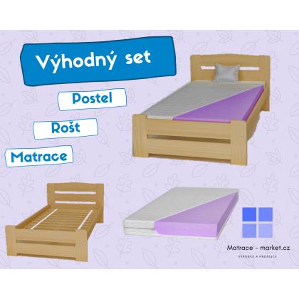 Set: postel, matracé a rošt